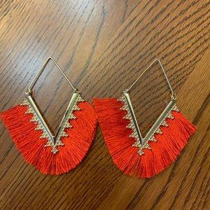 Gold Fringe Dangle Earrings Red